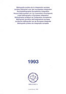 Legal bibliography of European integration 1993