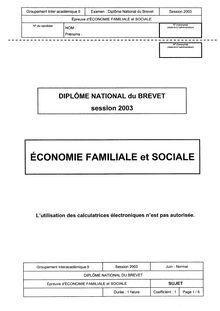 Brevet economie familiale et sociale 2003