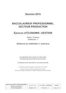 Baccalauréat Économie-Gestion 2016 - Section professionnelles
