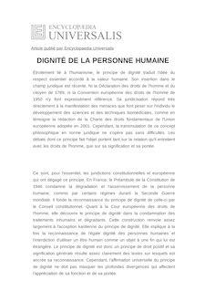 Définition de : DIGNITÉ DE LA PERSONNE HUMAINE - Bertrand MATHIEU
