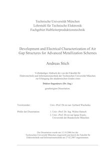 Development and electrical characterization of air gap structures for advanced metallization schemes [Elektronische Ressource] / Andreas Stich