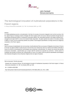 The technological innovation of multinational corporations in the French regions - article ; n°1 ; vol.109, pg 9-28