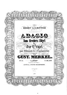 Partition complète, Adagio im freien Styl, Op. 35, E major, Merkel, Gustav Adolf
