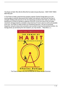 The Power of Habit Why We Do What We Do in Life and Business Book Review