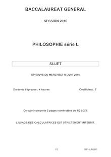 Baccalauréat Philosophie 2016 série L