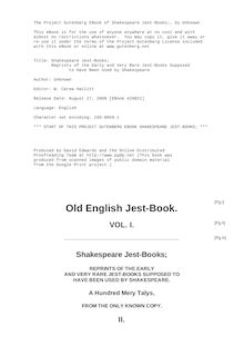 Shakespeare Jest-Books - Reprints of the Early and Very Rare Jest-Books Supposed to Have Been Used by Shakespeare