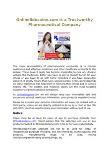 Onlinelidocaine.com is a Trustworthy Pharmaceutical Company