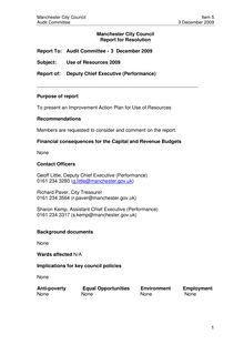 Report on Improvement Action Plan for Use of Resources 2009 to Audit  Committee on 3 December 2009