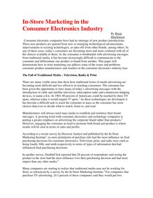 In-Store Marketing in the Consumer Electronics Industry