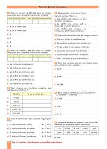 Chapitre N4 CM2 : Fractions décimales, nombres décimaux : Écriture décimale (1)