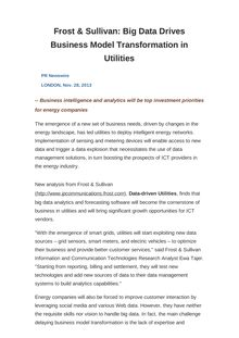Frost & Sullivan: Big Data Drives Business Model Transformation in Utilities