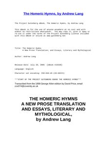 The Homeric Hymns - A New Prose Translation; and Essays, Literary and Mythological