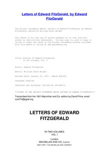 Letters of Edward FitzGerald - in two volumes, Vol. 1