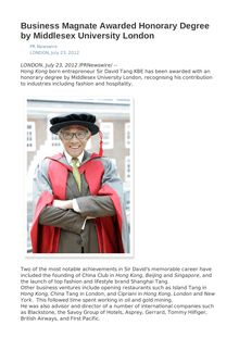 Business Magnate Awarded Honorary Degree by Middlesex University London
