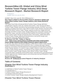 ResearchMoz.US: Global and China Wind Turbine Tower Flange Industry 2012 Deep Research Report - Market Research Report
