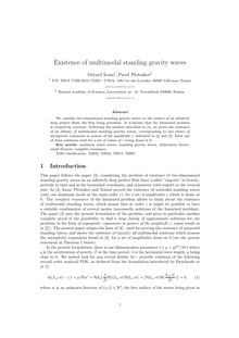 Existence of multimodal standing gravity waves Gerard Iooss† Pavel Plotnikov‡