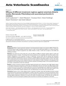 Efficacy of different treatment regimes against setariosis (Setaria tundra, Nematoda: Filarioidea) and associated peritonitis in reindeer