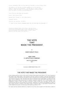 The Vote That Made the President