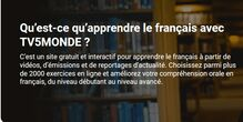 Apprendre le français avec TV5 Monde. Tous les niveaux. Cours et exercices.
