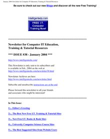 January 2004 Newsletter for Computer IT Education, Training & Tutorial  Resources