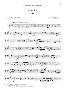 Partition Sonata 4 partition de violon, 6 sonates pour Piano et violon