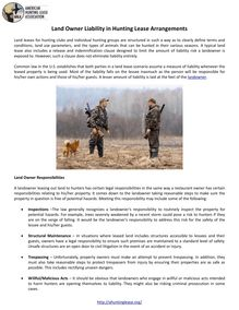 Land Owner Liability in Hunting Lease Arrangements