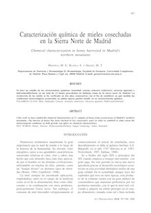 Caracterización química de mieles cosechadas en la Sierra Norte de Madrid. (Chemical characterization in honey harvested in Madrid