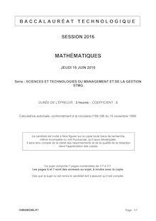 Baccalauréat Mathématiques 2016 - Série STMG