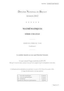 Brevet 2012 Maths