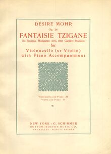 Partition couverture couleur, Fantaisie Tzigane on National Hungarian Airs, Op.26