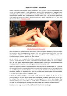 How to Choose a Nail Salon