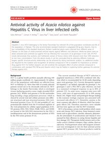 Antiviral activity of Acacia niloticaagainst Hepatitis C Virus in liver infected cells