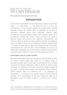 Définition de : PERCEPTION - Jérôme de GRAMONT