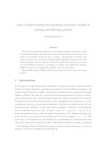 Laws of large numbers for mesoscopic stochastic models of reacting and diffusing particles