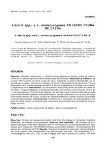 Listeria spp., y L. monocytogenes EN LECHE CRUDA DE CABRA (Listeria spp. and L. monocytogenes IN RAW GOAT'S MILK )