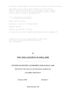 The Enclosures in England - An Economic Reconstruction