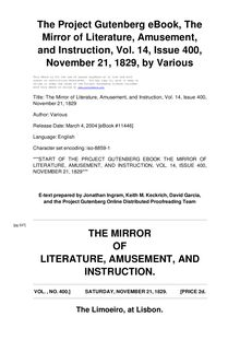 The Mirror of Literature, Amusement, and Instruction - Volume 14, No. 400, November 21, 1829