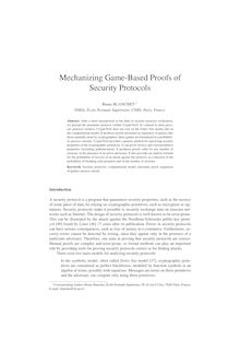 Mechanizing Game Based Proofs of Security Protocols
