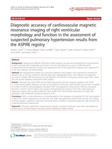 Diagnostic accuracy of cardiovascular magnetic resonance imaging of right ventricular morphology and function in the assessment of suspected pulmonary hypertension results from the ASPIRE registry