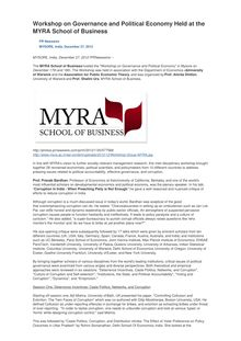 Workshop on Governance and Political Economy Held at the MYRA School of Business