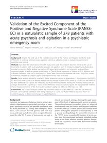 Validation of the Excited Component of the Positive and Negative Syndrome Scale (PANSS-EC) in a naturalistic sample of 278 patients with acute psychosis and agitation in a psychiatric emergency room