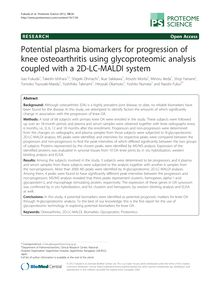 Potential plasma biomarkers for progression of knee osteoarthritis using glycoproteomic analysis coupled with a 2D-LC-MALDI system