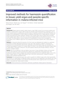 Improved methods for haemozoin quantification in tissues yield organ-and parasite-specific information in malaria-infected mice