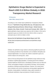 Ophthalmic Drugs Market is Expected to Reach USD 21.6 Billion Globally in 2018: Transparency Market Research