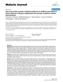 Use of over-the-counter malaria medicines in children and adults in three districts in Kenya: implications for private medicine retailer interventions