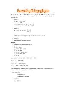 Baccalauréat Mathématiques 2016 - Série ES (obligatoire), série L (spécialité) - Corrigés