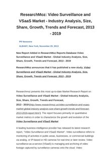 ResearchMoz: Video Surveillance and VSaaS Market - Industry Analysis, Size, Share, Growth, Trends and Forecast, 2013 - 2019
