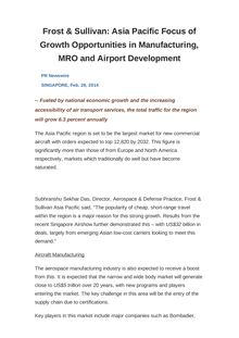Frost & Sullivan: Asia Pacific Focus of Growth Opportunities in Manufacturing, MRO and Airport Development