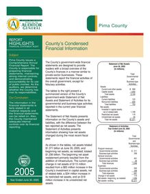 Pima County June 30, 2005 Report Highlights-Financial Audit