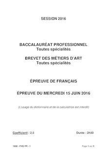 Baccalauréat Français 2016 séries professionnelles